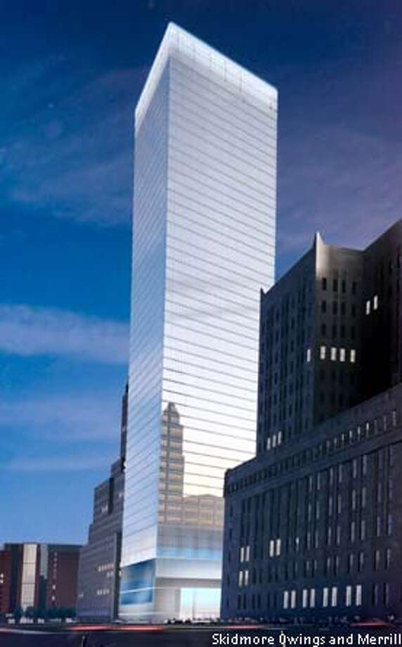 Artist's rendering of the new 7 World Trade Center tower, which was unveiled at an event at the site of the old 7 World Trade Center,November 20, 2002. The new 52-story skyscraper, which was developed by Larry Silverstein and designed by architect David Childs, will replace 7 World Trade Center, which burned to the ground hours after the twin towers fell. Architect Skidmore Owings and Merrill/Handout Photo: HO