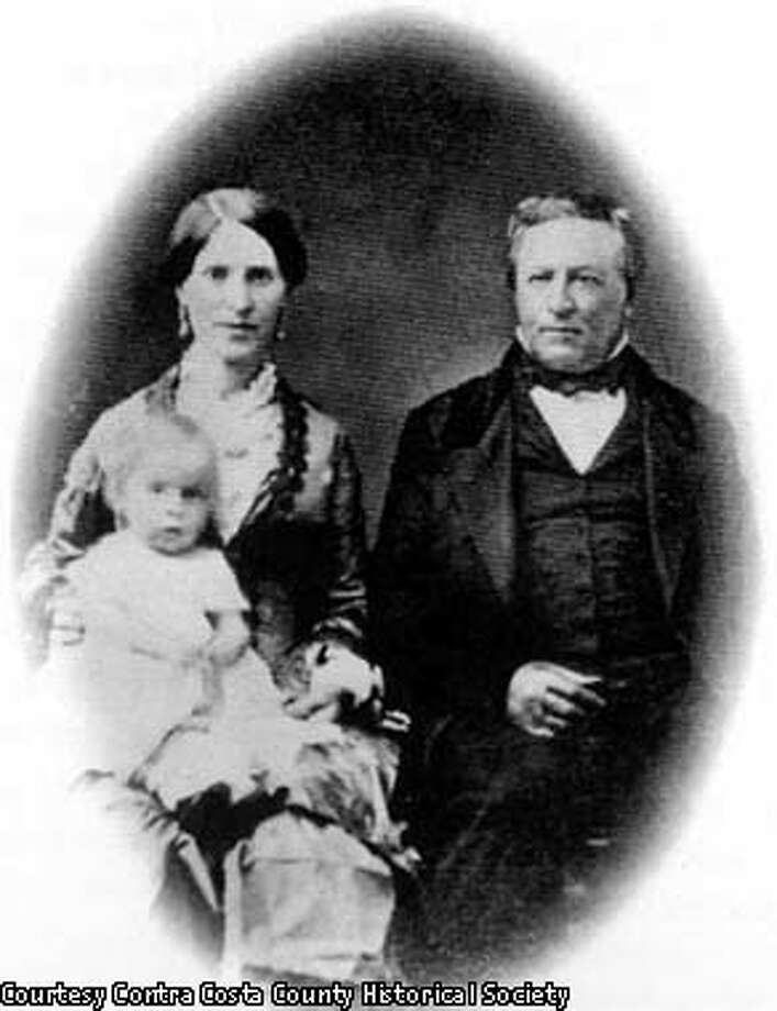 """Dr. John Marsh, wife Abigail and daughter Alice"" For credit line please use: Courtesy Contra Costa County Historical Society."