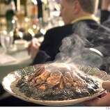 Chronicle Wine and Food writers sit down to a multi-course Chinese New Year feast at Koi Palace restaurant in Daly City to do some food and wine pairings with Chinese food. Belinda Chang, sommelier at the 5th Floor restaurant, was also there. This maybe the dish of oysters Olivia Wu in the Food Department was looking for.  Event on 12/15/03 in Daly City.  CRAIG LEE / The Chronicle