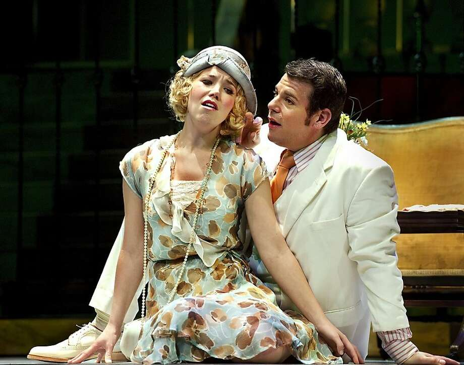 "Susannah Biller (l.) as Daisy Buchanan and Marco Panuccio as Jay Gatsby in John Harbison's opera ""The Great Gatsby"" presented by Ensemble Parallèle Photo: Steve DiBartolomeo"