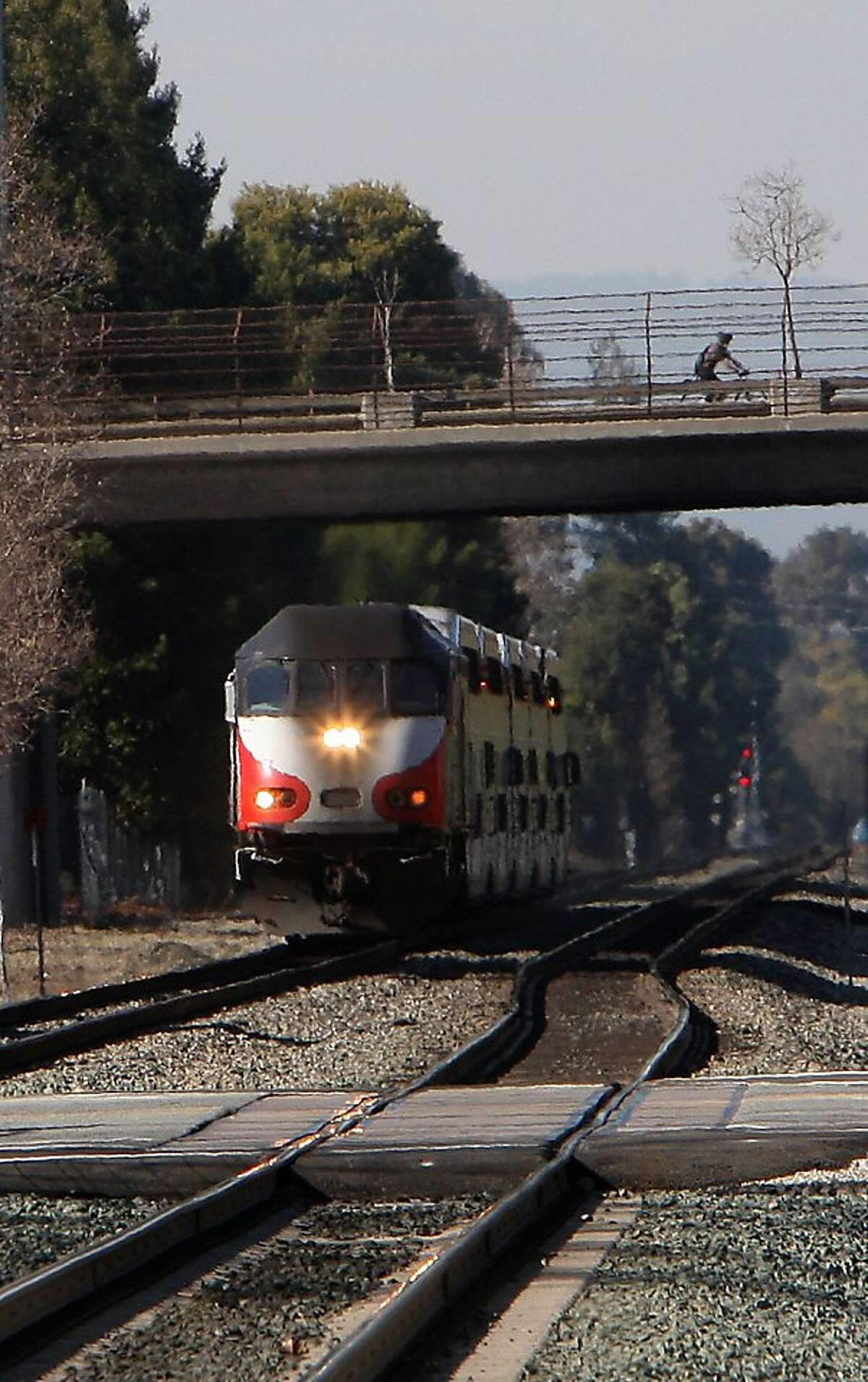A southbound Caltrain arriving at the station in Mountain View, Calif., on Thursday, February 9, 2012. Caltrain between San Francisco to San Jose is seeing electrified trains as a potential to the commuter rail line.