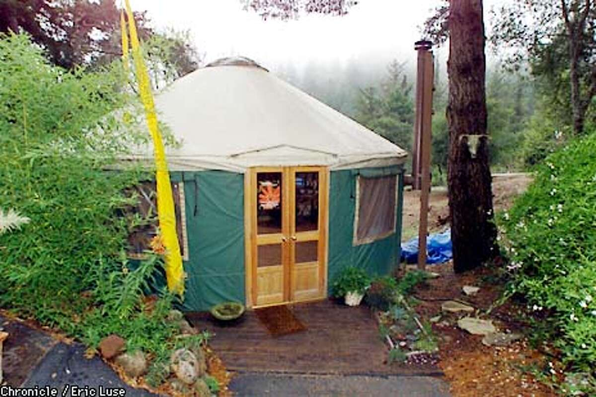 YURT in Forest Knolls is used as an office by Debra (does not want last name used). BY ERIC LUSE/THE CHRONICLE