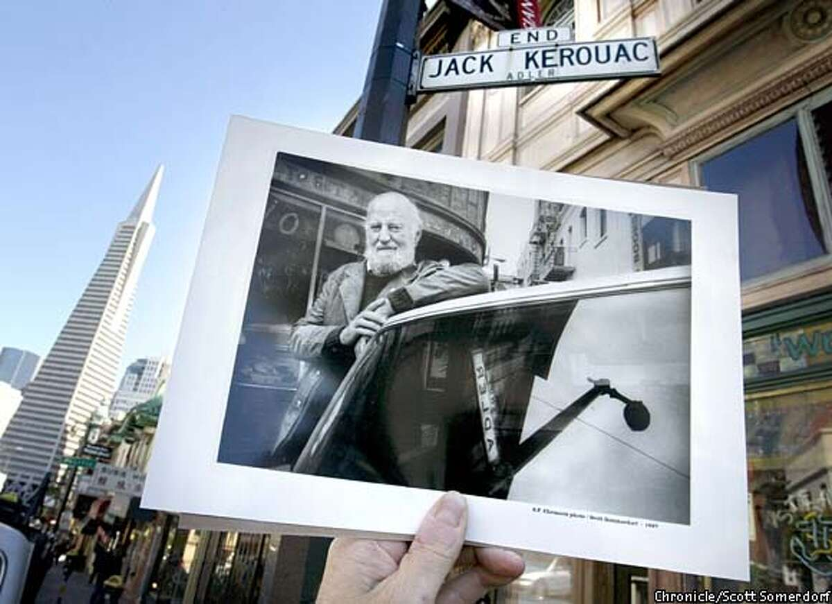 Lawrence Ferlinghetti was successful in his quest to change Adler Place to Jack Kerouac Alley, which is right next to his City Lights Bookstore. Chronicle photo by Scott Sommerdorf