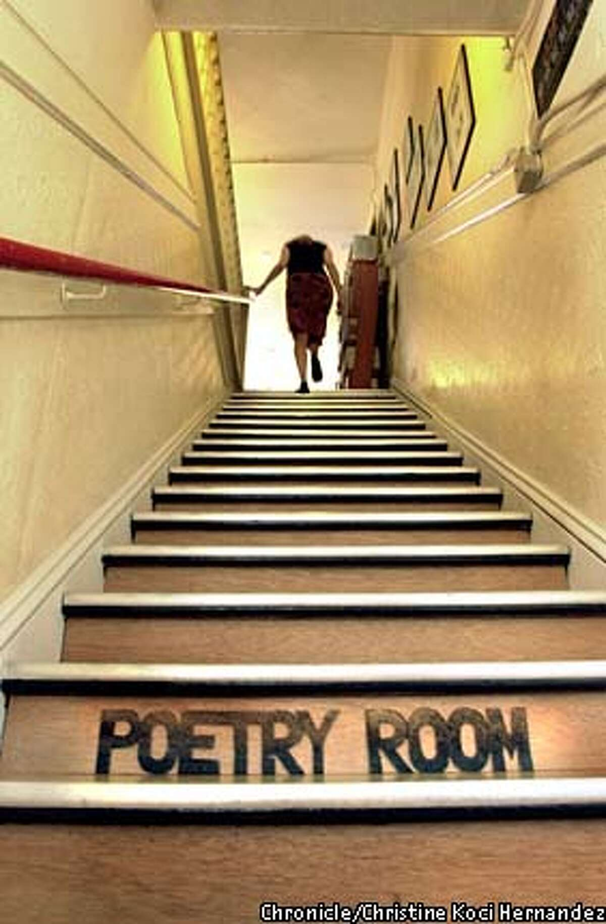 Stairs at the Columbus Avenue store lead to the new Poetry Room. Chronicle photo by Christina Koci Hernandez