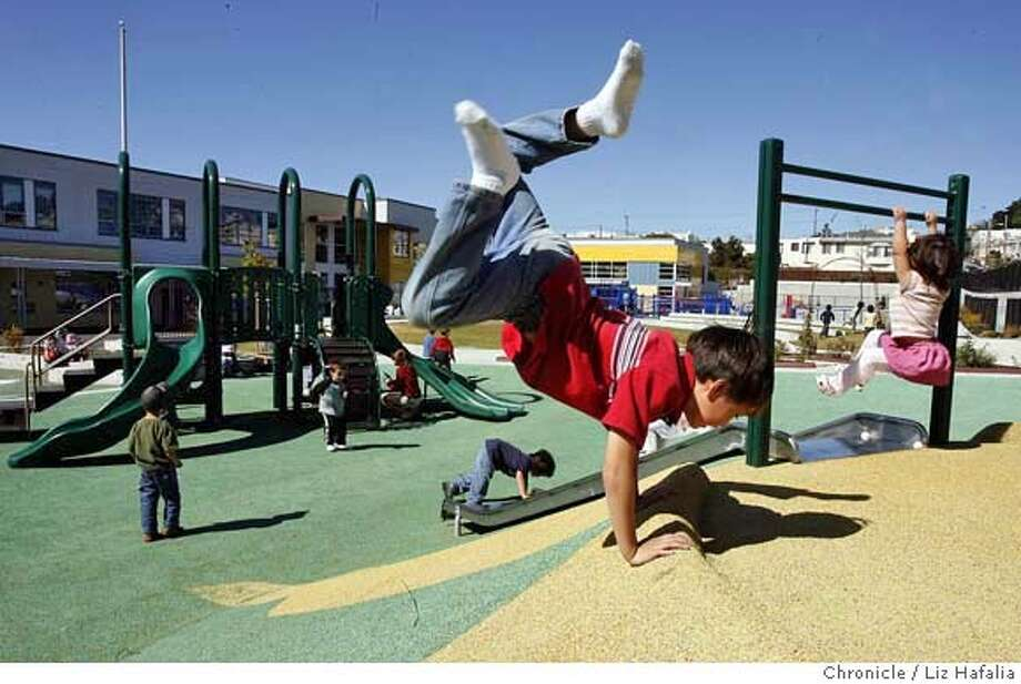 PLAYGROUND02_060_LH.JPG Henry Mattingly, 7 years old, a second grader at Diane Feinstein Elementary school in the playground after school. Mayor Gavin Newsom made an announcement at Diane Feinstein Elementary School that the public school playgrounds may open it's doors on weekends to the public.  Liz Hafalia/The Chronicle/San Francisco/10/2/07  **Henry Mattingly cq �2007, San Francisco Chronicle/ Liz Hafalia  MANDATORY CREDIT FOR PHOTOG AND SAN FRANCISCO CHRONICLE. NO SALES- MAGS OUT. Photo: Liz Hafalia