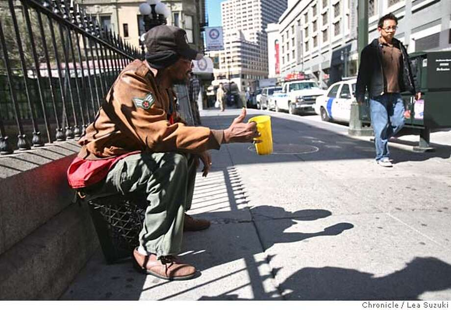 nevius04_177_ls.jpg Barry Hewett shakes a cup to passersby on 5th Street on Wednesday afternoon. Reaction from people to the news that San Francisco will begin cracking down this week on homeless people who commit quality-of-life crimes in a 15-block area of the city's South of Market district - the tourist-heavy section that includes Bloomingdales, the Metreon and Moscone Center.  Lea Suzuki / The Chronicle Photo taken on 10/3/07, in San Francisco, CA, USA Photo: Lea Suzuki