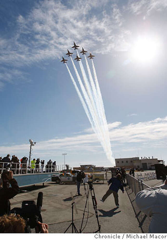 A fly over by the Navy Blue Angels at the arrival of the A380. The arrival of the A380 Airbus passenger jet, the largest passenger aircraft ever built. Photographed in, San Francisco, Ca, on 10/4/07. Photo by: Michael Macor/ The Chronicle Photo: Michael Macor