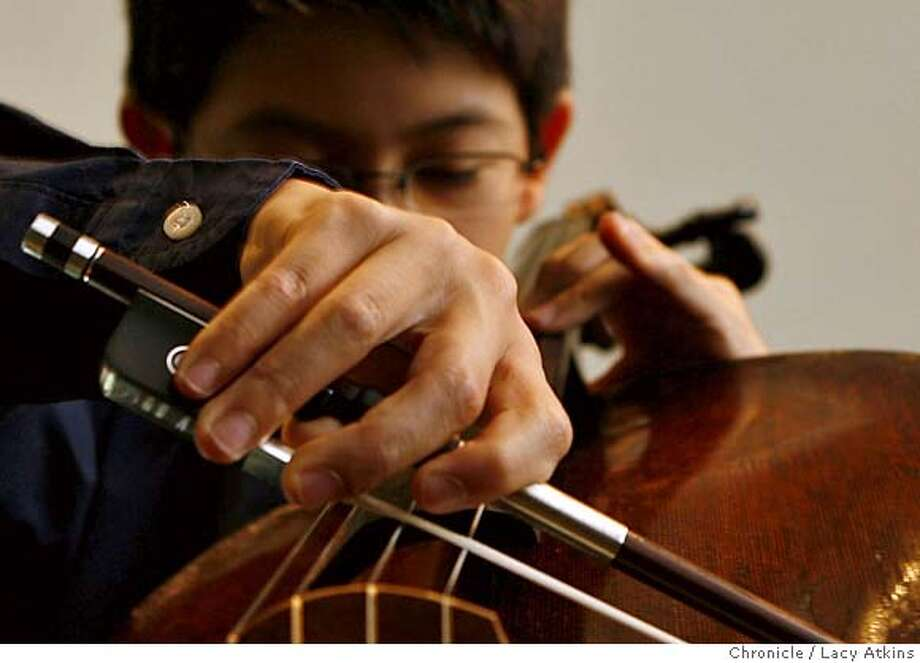 Nathan Chan a 13-year-old cello prodigy in the studio, Wednesday Aug. 15, 2007, at his home in Hillsborough, Ca. Chan made his debut as a conductor at age 3 with the San Jose Chamber Orchestra, has been playing the cello since age 5.(Lacy Atkins /San Francisco Chronicle) MANDATORY CREDITFOR PHOTGRAPHER AND SAN FRANCISCO CHRONICLE/NO SALES-MAGS OUT Photo: Lacy Atkins