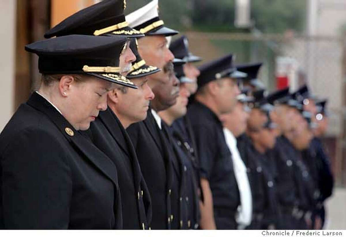 SFFD Fire chief Joanne Hayes-White along with other members of The San Francisco Fire Dept. held a commemoration to honor fallen firefighters FDNY killed in 9/11 at Station 7 at 19th and Folsom St., SF. City wide at all 42 stations, beginning at 6:45 a.m. and ending at 7:02 a.m the fallen will be honored. 9/11/06 {Frederic Larson/The Chronicle }