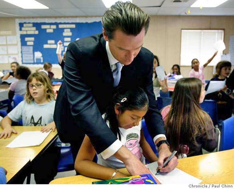 Mayor Gavin Newsom snuck into a classroom to sign autographs for 4th-grader Barbara Gomez and her Spanish immersion classmates after supporters of the Proposition A school bond measure kicked off the campaign at Buena Vista Elementary School in San Francisco, Calif. on Thursday, September 14, 2006. If passed by voters in November, the bond will provide $450 million to rebuild up to 64 school sites.  PAUL CHINN/The Chronicle  **Barbara Gomez  (EDS NOTE: School officials obtained permission from her parents to be photographed.) MANDATORY CREDIT FOR PHOTOGRAPHER AND S.F. CHRONICLE/ - MAGS OUT Photo: PAUL CHINN