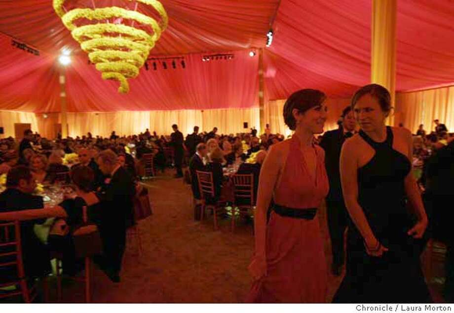 Jessica Goldman and Emilia Hofmeister inside the Patron's Tent at the gala. MANDATORY CREDIT FOR PHOTOGRAPHER AND SAN FRANCISCO CHRONICLE/ -MAGS OUT Photo: Laura Morton