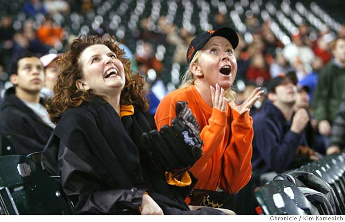 GIANTS31_125_KK.JPG Hanne Cancian (cq all), L and Cara Heagy, both of San Francisco, react to a second inning fly out that was hit to their section by Giant Pedro Feliz in the second inning. Fan reaction from the Giants preseason game against the Angels at SBC Park. San Francisco Chronicle photo by Kim Komenich 3/30/06 �2006, Kim Komenich/The San Francisco Chronicle