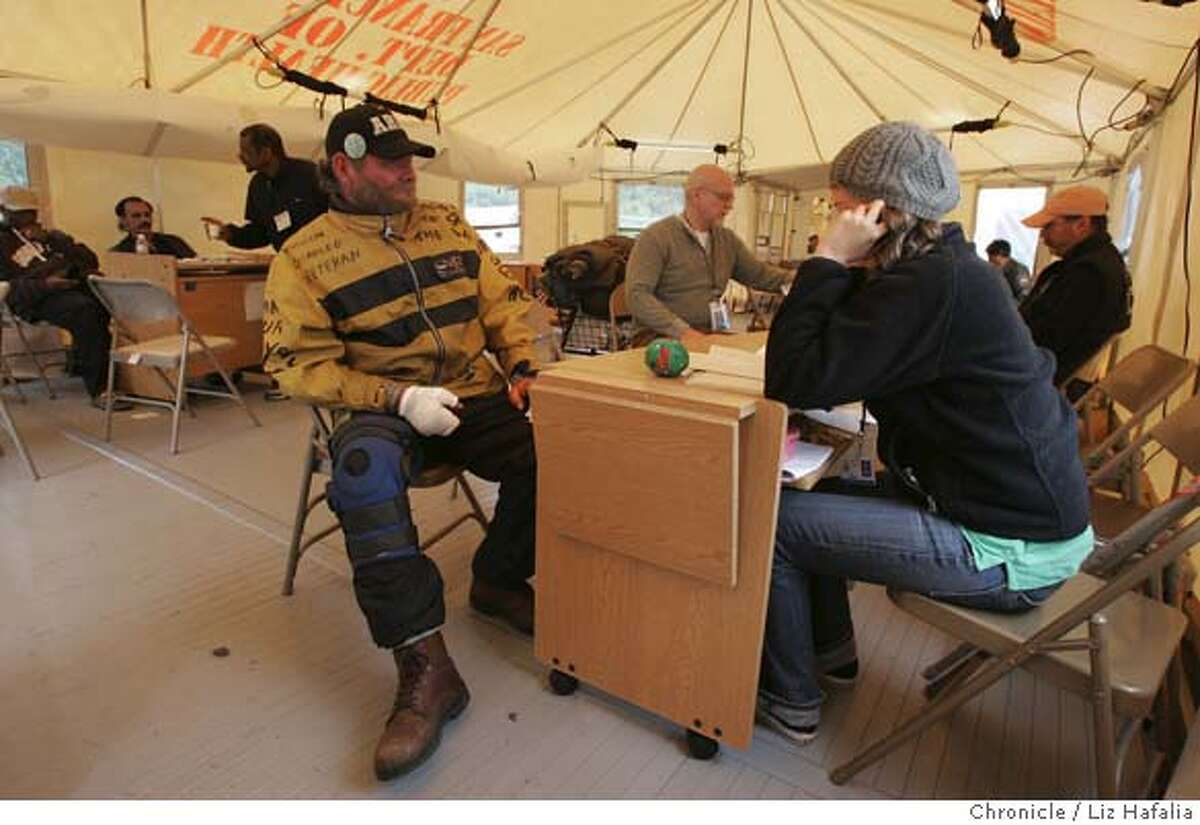 GGPARK02_018_LH_.JPG A triage center in Sharon Meadows has been set up today with police officers and social service workers taking homeless people from their encampments and taking them to the triage tent, where they were directed to services. Liz Hafalia/The Chronicle/San Francisco/8/1/07 ** cq �2007, San Francisco Chronicle/ Liz Hafalia MANDATORY CREDIT FOR PHOTOG AND SAN FRANCISCO CHRONICLE. NO SALES- MAGS OUT.