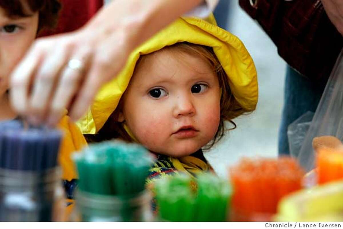 FARMMARKET20_35429.JPG Aislynn Barkley-Griggs age 2 is all eyes as her mother reaches for a Honey Sticks at the honey vendor�s booth. The Grand Lake Farmers Market in Oakland is open year round 9-2pm on Saturday's. (JUNE 2) Aislynn (cq) MOTHER) Lance Iversen / The Chronicle Photo taken on 6/2/07,in OAKLAND, CA. MANDATORY CREDIT PHOTOG AND SAN FRANCISCO CHRONICLE/NO SALES MAGS OUT