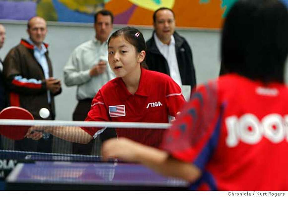 (L2R) Ariel Hsing 11 of San Jose plays Lily Zhang 11 of Palo Alto at the Atrium on 2nd street.  The Bay Area Sports Organizing Committee held a table tennis exhibition to draw attention to to the junior table tennis championships which will be held at Stanford in December.  TUESDAY, JUNE 19, 2007 KURT ROGERS SAN FRANCISCO SFC  THE CHRONICLE PINGPONG_0022_kr.jpgThe Bay Area Sports Organizing Committee held a table tennis exhibition to draw attention to to the junior table tennis championships whish will be held at Stanford in December.  TUESDAY, JUNE 19, 2007 KURT ROGERS SAN FRANCISCO SFC  THE CHRONICLE PINGPONG_0022_kr.jpg  Ran on: 06-20-2007  Ariel Hsing, 11, of San Jose, left, plays Lily Zhang, 11, of Palo Alto at the Atrium in San Francisco on Tuesday. The junior table tennis championships will be held at Stanford in December.  Ran on: 06-20-2007 Ran on: 06-20-2007 Photo: KURT ROGERS