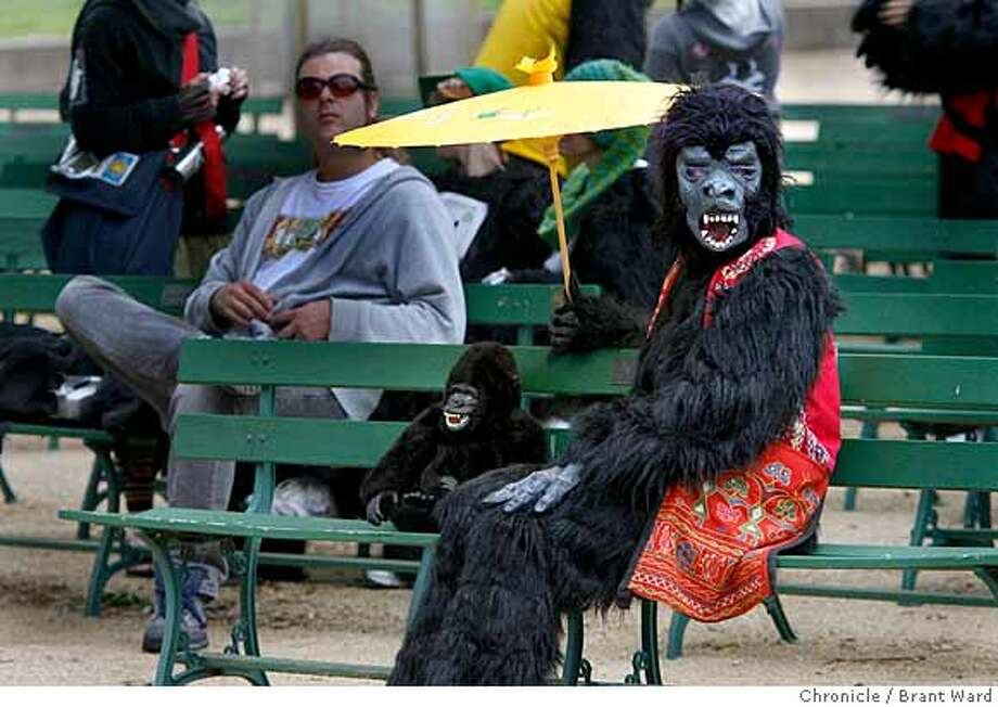 Candace Holub of Vallejo brought her umbrella and a friend as she waited for the race to begin.  The first annual San Francisco Great Gorilla Run began in Golden Gate Park just near the bandshell Sunday. Over 400 people, dressed as gorillas, ran a 7K race to raise funds for mountain and low land gorillas threatened in the Congo, Uganda and Rwanda.  {Brant Ward/San Francisco Chronicle}6/10/07 Photo: Brant Ward