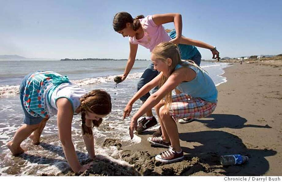 weather_0002_db.JPG  Ellie Kreun celebrates her birthday for turning 11, bottom right, with her friends, Samantha Nickelson, 11, left, both from Winters, Ca., and Jacqui Plascencia, 11, from Woodland, Ca., back, enjoy the surf and sand along the shore of San Francisco Bay near Frontage Rd. which runs alongside Highway 80 in Berkeley, CA, on Thursday, June, 14, 2007. The children were celebrating a birthday party for Ellie Kreun by visiting inland and escaping 102 degree heat in Winters, Ca. photo taken: 6/14/07  Darryl Bush / The Chronicle ** Jacqui Plascencia, Ellie Kreun, Samantha Nickelson (cq) Photo: Darryl Bush