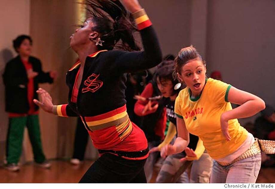 KWANZAA_0070_KW_.jpg On 12/26/05 in Sausalito (L to R) Diamond Dance Company's Brittany Jones, 17, and Jennifer Davis, 16, from the New Style Motherlode Dance Studio in Oakland, perform Hip-hop dance for The 8th Annual Kwanzaa Celebration which began today honoring the first of the seven principles of Kwanzaa, Unity, at The Bay Area Discovery Museum at Fort Baker. Kat Wade/The Chronicle MANDATORY CREDIT FOR PHOTOG AND SF CHRONICLE/ -MAGS OUT Photo: Kat Wade