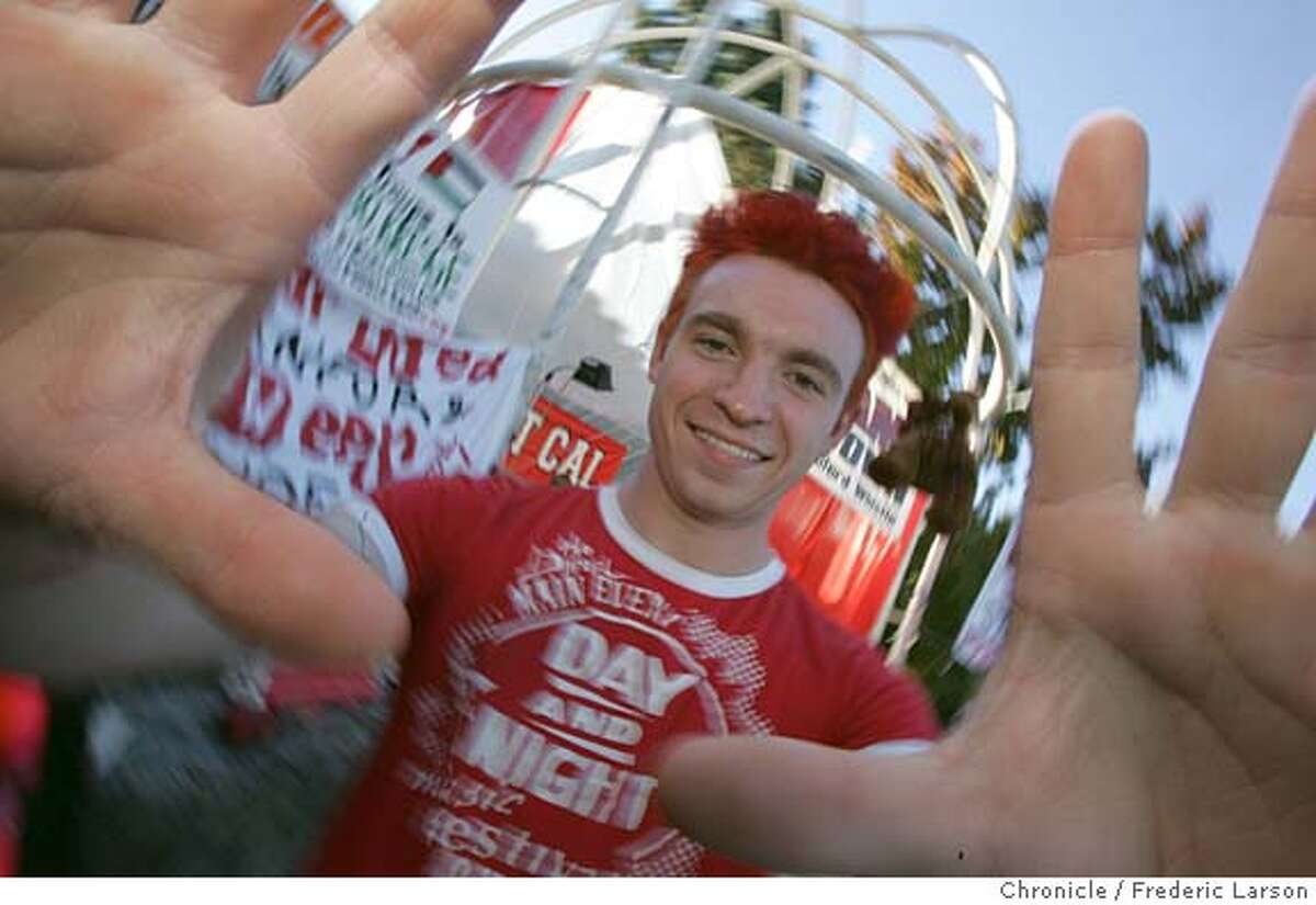 BIGGAME_117_fl.jpg Stanford student David Louk (21) dyed his hair red and complete got in the spirit of beating Cal on the Stanford campus. Stanford students repelled a caravan of Cal band members who'd set out on their annual foray to wake up Stanford's president by playing in front of his house at 3 a.m. Freshman had received intelligence that the attack was coming and deployed to resist, backed by a cell-phone comm network. Stanford Axe Committee chair Seth Cairo knows about this and other incidents. 11/18/05 Palo Alto CA Frederic Larson San Francisco Chronicle