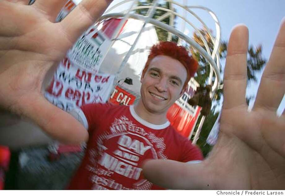 BIGGAME_117_fl.jpg Stanford student David Louk (21) dyed his hair red and complete got in the spirit of beating Cal on the Stanford campus. Stanford students repelled a caravan of Cal band members who'd set out on their annual foray to wake up Stanford's president by playing in front of his house at 3 a.m. Freshman had received intelligence that the attack was coming and deployed to resist, backed by a cell-phone comm network. Stanford Axe Committee chair Seth Cairo knows about this and other incidents.  11/18/05 Palo Alto CA Frederic Larson San Francisco Chronicle Photo: Frederic Larson