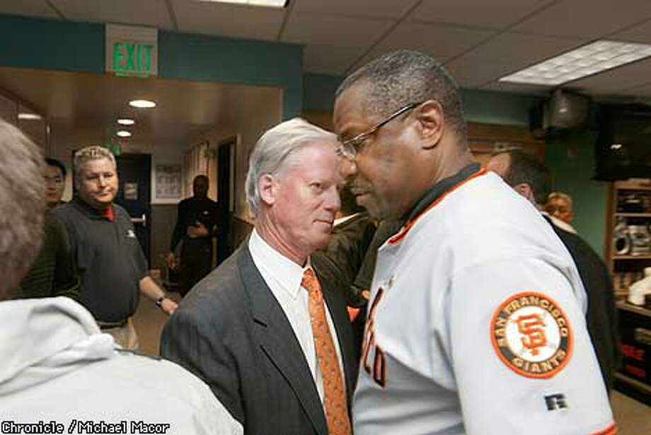 Giants manager Dusty Baker and Peter McGowan in the clubhouse after the game. The San Francisco Giants play the Anaheim Angels in Games 7 of the World Series at Edison Field in Anaheim, Ca., October 27, 2002. Michael Macor/San Francisco Chronicle Photo: Michael Macor