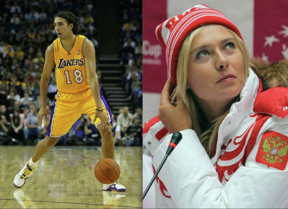 Celebrity-athlete couples are a dime a dozen, but athlete-athlete couples are a much rarer find. In honor of Valentine's Day, we've assembled some of the most famous. See if your favorite lovebirds made the list.First up: Tennis star Maria Sharapova has been dating former Lakers guard Sasha Vujacic since 2009. The couple is now engaged. Photo: Clive Rose/Getty Images / Clive Rose/Getty Images