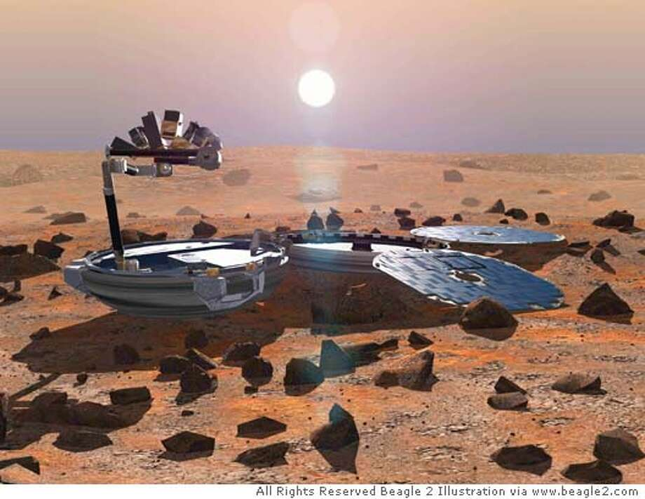 "A picture released in May 2002 shows a simulation of Beagle 2 on the martian surface. The Beagle 2 probe, a British-led project, was given the go-ahead by the European Space Operations Centre to separate from its ""mothership"", Mars Express, early December 19, 2003. The probe was expected to land on Mars on Christmas Day, 2003, to search for life, past or present. Meanwhile, NASA's Mars rovers Opportunity and Curiosity have been sending back thousands of images, some of which have raised eyebrows .... Photo: BEAGLE 2"