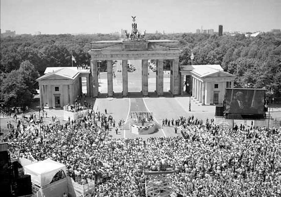 East Germany seals gate. East Germany closes the Bradenburg Gate on Aug. 13, 1961, sealing the border between East and West Berlin in preparation for building the Berlin Wall.