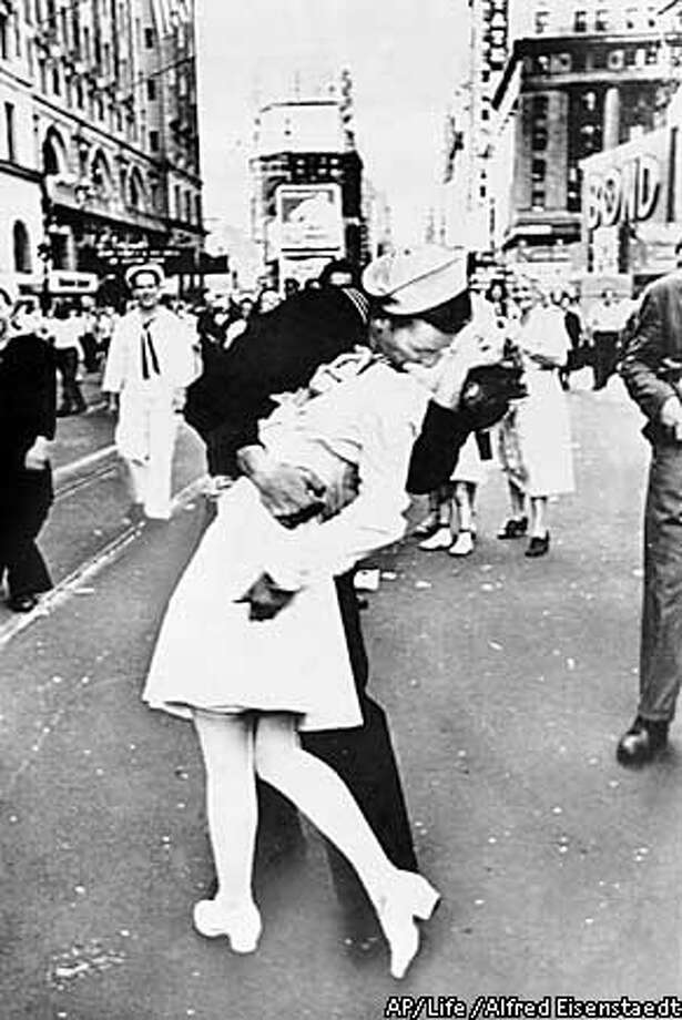 World War II ends. Allies declare victory in Europe on May 8, 1945. Japan surrenders on Aug. 14, with V-J Day declared Sept. 2. Life photo by Alfred Eisenstaedt via Associated Press