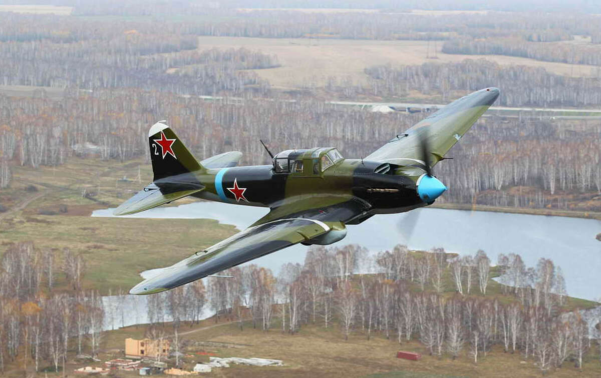 The Flying Heritage Collection's newly restored World War II Ilyushin Il-2 Shturmovik is shown in flight. The airplane incorporates parts from four wrecks discovered in northwestern parts of the former Soviet Union.