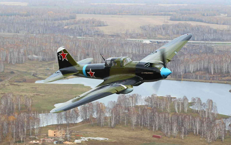 The Flying Heritage Collection's newly restored World War II Ilyushin Il-2 Shturmovik is shown in flight. The airplane incorporates parts from four wrecks discovered in northwestern parts of the former Soviet Union. Photo: Flying Heritage Collection