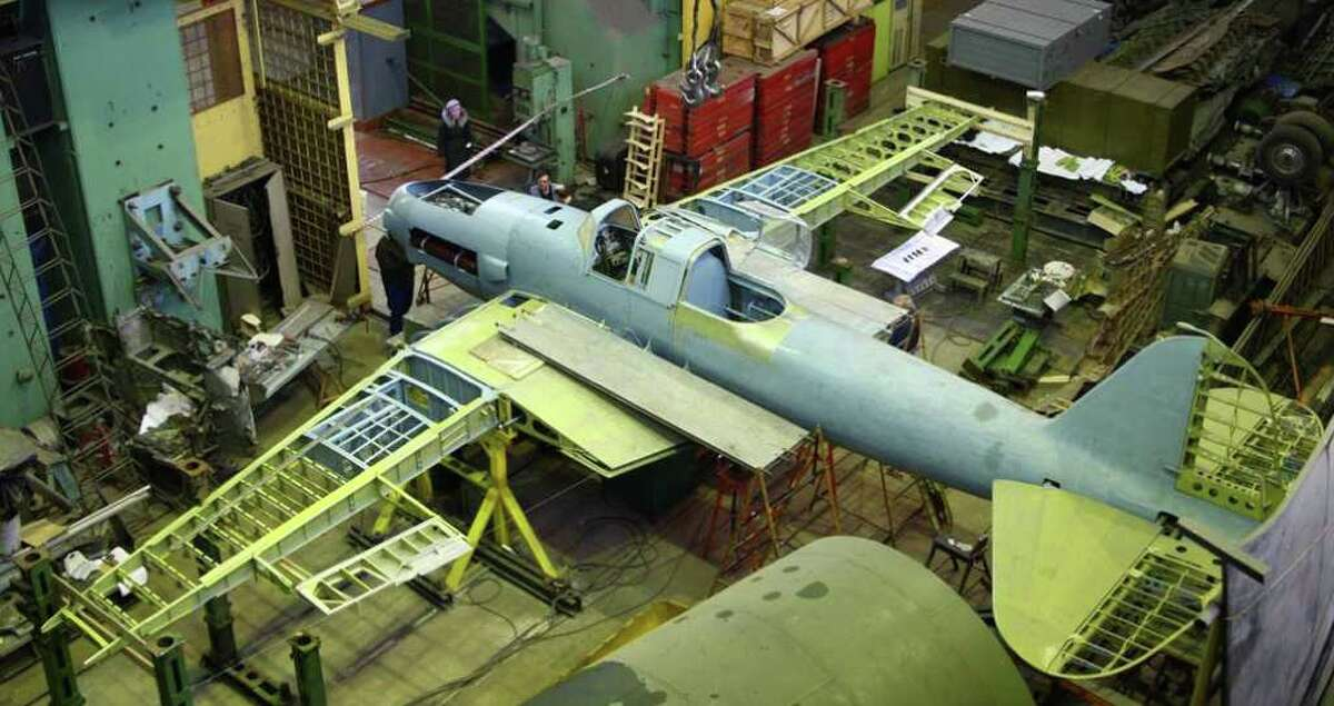 The Flying Heritage Collection's World War II Ilyushin Il-2 Shturmovik is shown in restoration in late 2010. The airplane incorporates parts from four wrecks discovered in northwestern parts of the former Soviet Union.
