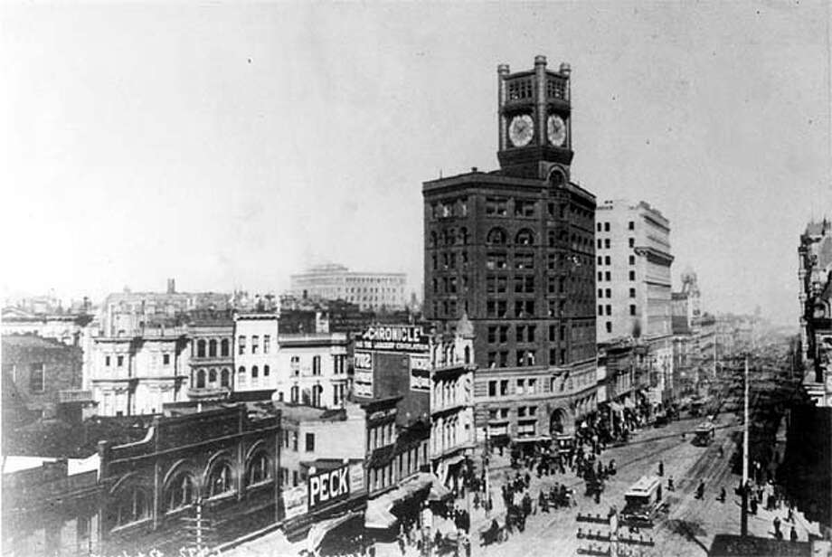 Chronicle building, Market Street, 1890-1924. Chronicle File Photo