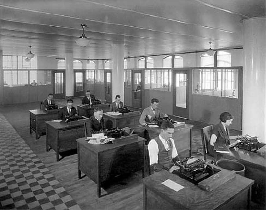 Chronicle newsroom, 1924. Chronicle File Photo