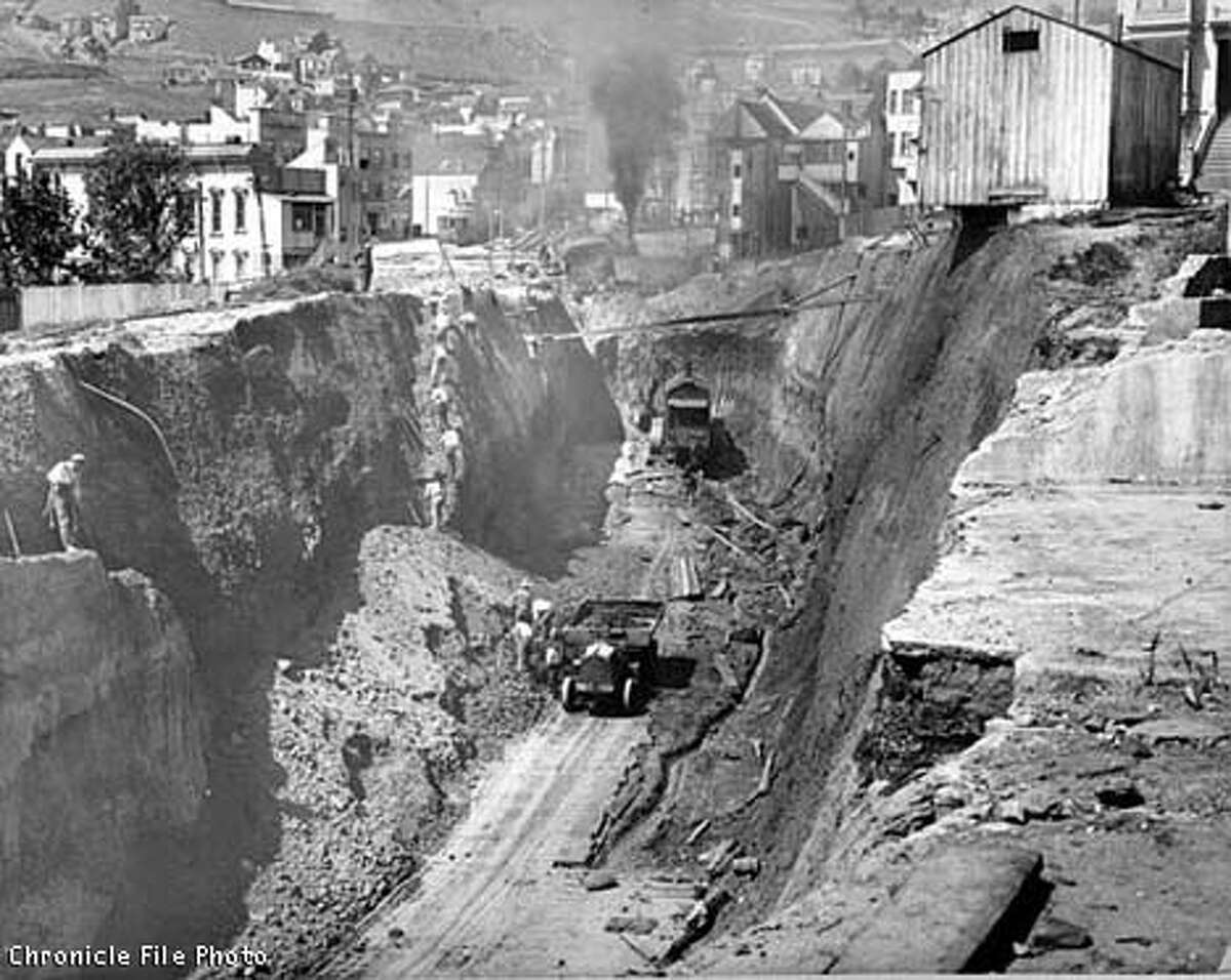 Construction on the Twin Peaks tunnel near Castro and Market streets in San Francisco on March 20, 1915. Work would continue until the opening in the summer of 1917. The current Muni Metro subway system was not put in place until the early 1980s.