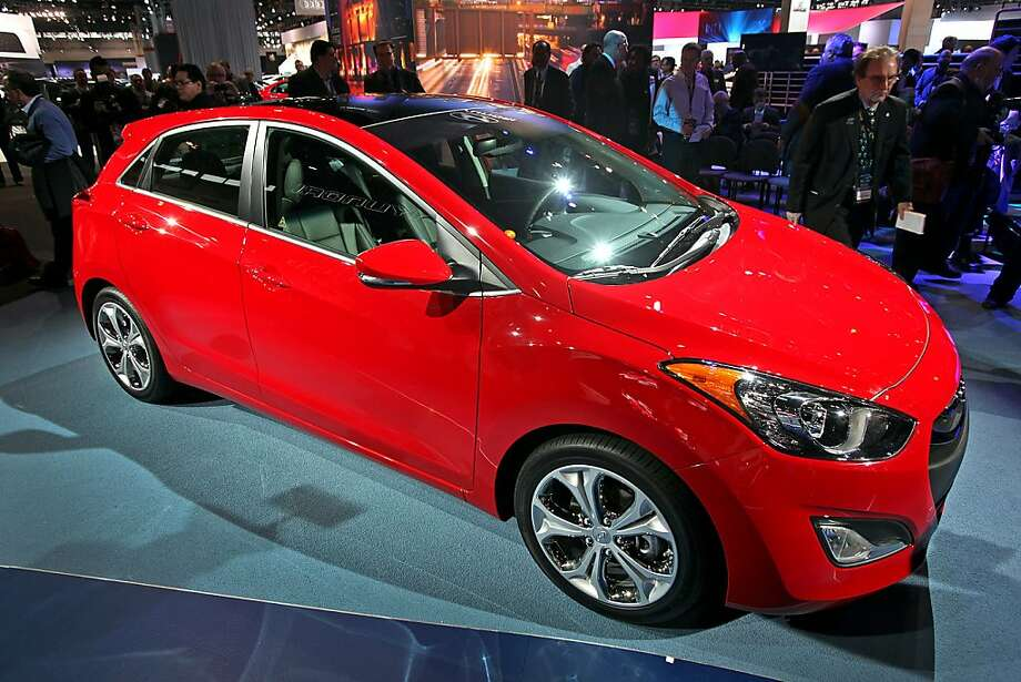 The 2013 Hyundai Motor Co. Elantra GT vehicle is presented at the Chicago Auto Show in Chicago, Illinois, U.S., on Wednesday, Feb. 8, 2012. Hyundai  Motor Co., South Korea's largest automaker, is unveiling two additional versions of its Elantra compact to grab a bigger share of the U.S. small-car market from competitors including Honda Motor Co.Photographer: Tim Boyle/Bloomberg Photo: Tim Boyle, Bloomberg