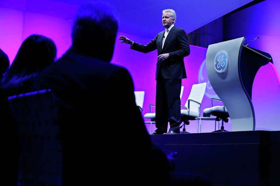 """WASHINGTON, DC - FEBRUARY 13:  GE Chairman and CEO Jeffrey Immelt delivers opening remarks during the global conglomerate's four-day event """"American Competitiveness: What Works,"""" at the Andrew Mellon Auditorium February 13, 2012 in Washington, DC.  As part of its """"Hire Our Heroes"""" program, General Electric Co. says it will hire 5,000 veterans over the next five years and invest $580 million to expand its aviation business.  (Photo by Chip Somodevilla/Getty Images) Photo: Chip Somodevilla"""