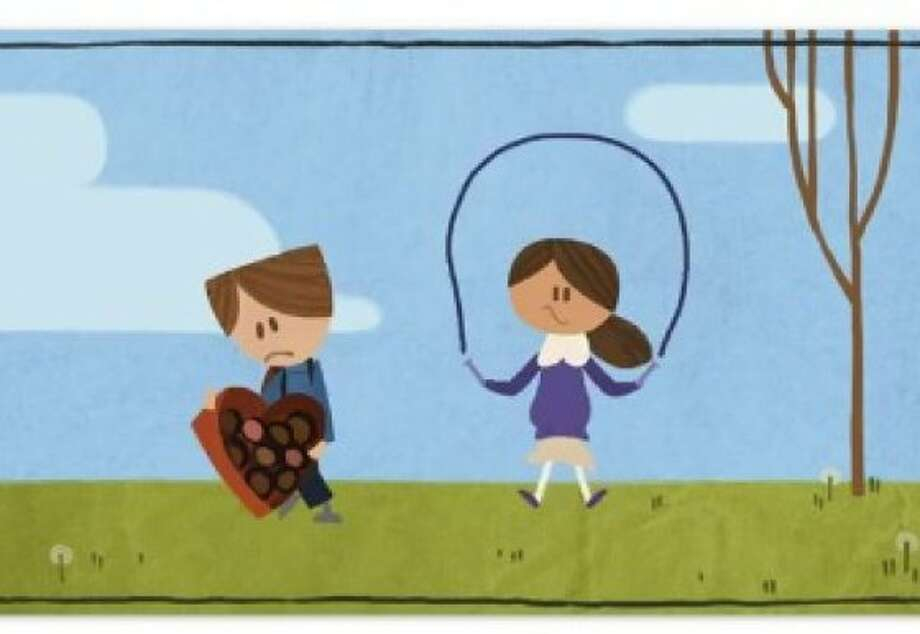 An image of Google's first ever long-form animated  Doodle  on Valentine s Day. Photo: Google