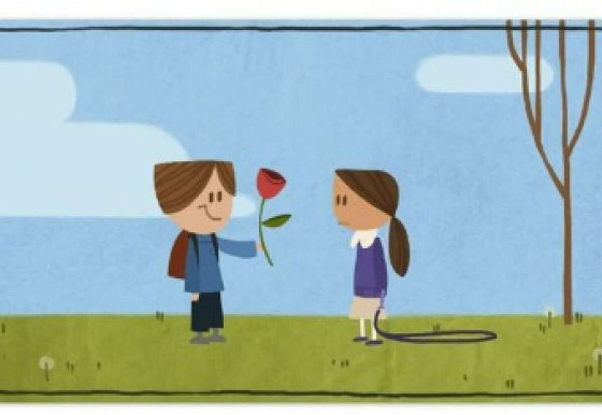 An image of Google's first ever long-form animated Doodle on Valentine s Day.