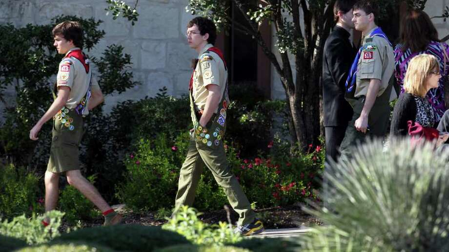 Boy Scouts in uniform leave Woodland Baptist Church on Huebner road Monday February 13, 2012 after the memorial service of former Eagle Scout William Patterson. Patterson, a freshman at Baylor University, was found dead in his burning car last Thursday near Waco. Photo: JOHN DAVENPORT, SAN ANTONIO EXPRESS-NEWS / SAN ANTONIO EXPRESS-NEWS (Photo can be sold to the public)
