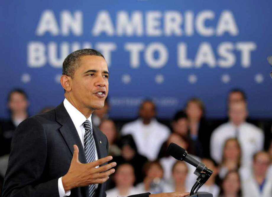"In an appearance Monday at Northern Virginia Community College in Annadale, Va., President Barack Obama talks about the ""Community College to Career Fund"" and his 2013 budget. Photo: Susan Walsh / AP"