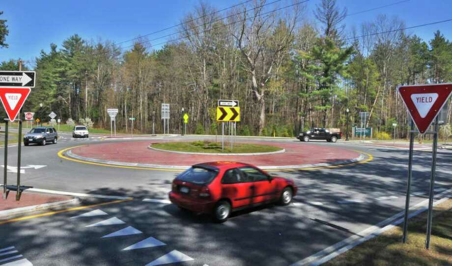 Malta officials are considering adding two roundabouts, similar to the one pictured here at Dunning Street and Hermes Road, along Round Lake Road. It is believed that the roundabouts would ease growing traffic congestion on Round Lake Road. A public meeting to discuss recommended improvements to the road is set for 7 p.m. Wednesday, Feb. 29, at Round Lake Fire Department, 13 Curry Road. (John Carl D'Annibale / Times Union archive) Photo: John Carl D'Annibale / 00008303A
