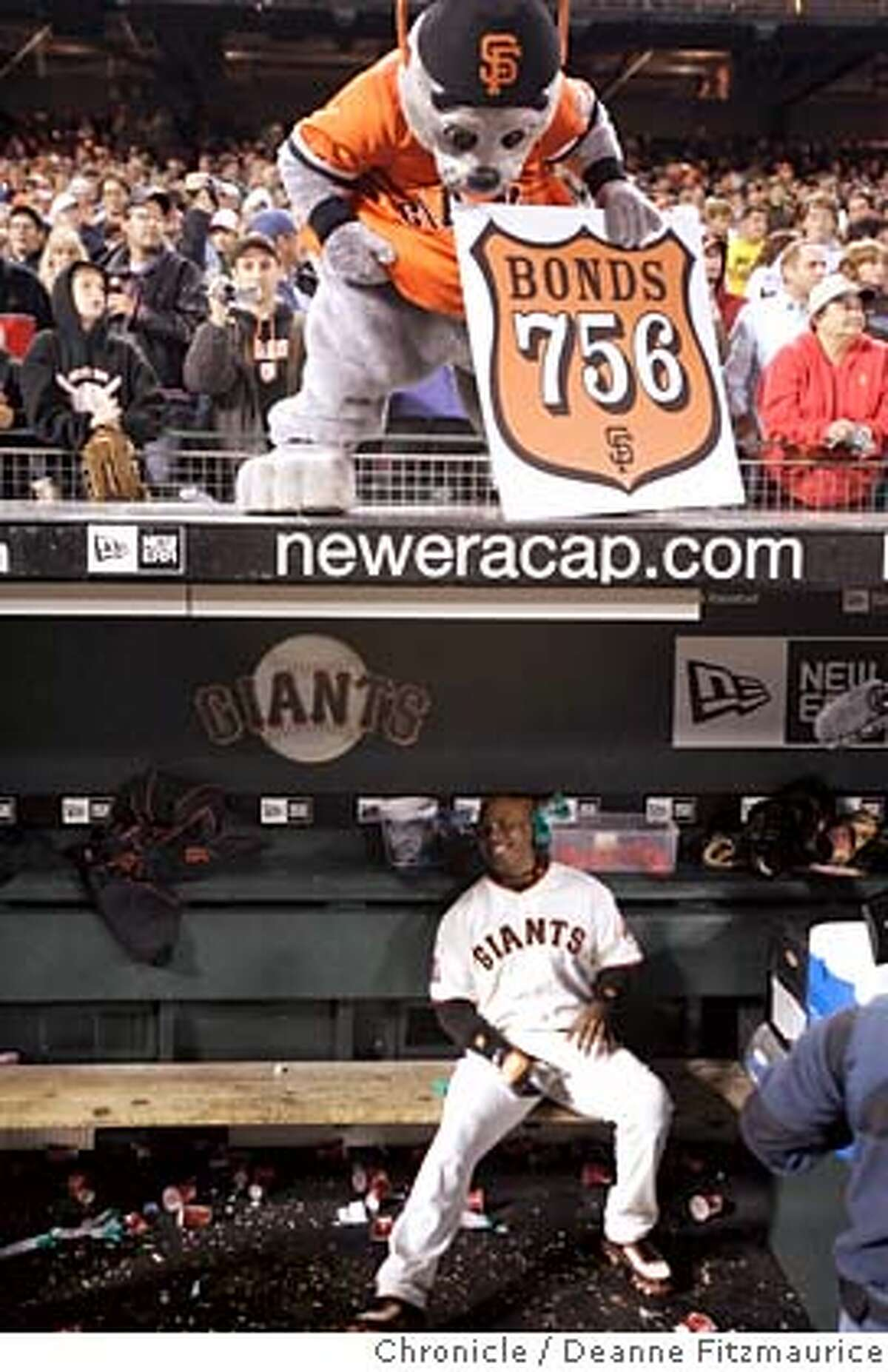 Lou Seal looks into the dugout after Barry Bonds hits home run number 756 in the bottom of the fifth inning. Washington Nationals play the San Francisco Giants at AT&T Park in San Francisco, CA, on Tuesday, August 07, 2007. Deanne Fitzmaurice / The Chronicle ** (cq)