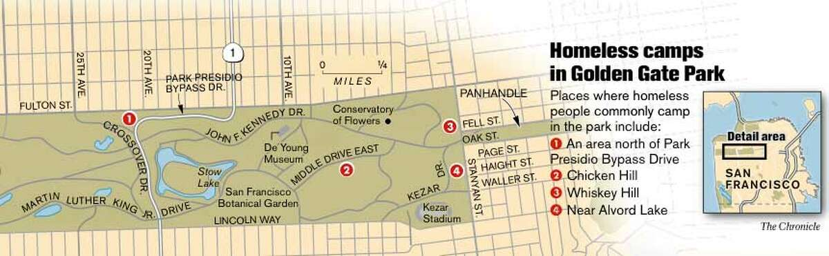 Homeless Camps in Golden Gate Park. Chronicle Graphic