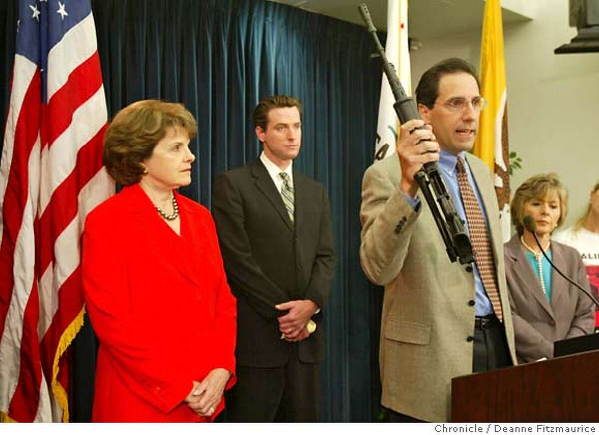 assault30_034_df.JPG Steve Sposato, who lost his wife in the shooting at 101 California almost 11 years ago, holds an assault weapon. Dianne Feinstein, Mayor Gavin Newsom, and Barbara Boxer urge a renewal of the assault weapons ban as we approach the 11th anniversary of the shooting at 101 California. Deanne FitzmauriceThe Chronicle MANDATORY CREDIT FOR PHOTOG AND SF CHRONICLE/NO SALES-MAGS OUT