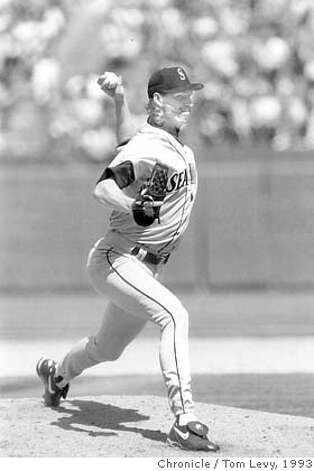 .jpg May 16, 1993 - Randy Johnson almost pitched the Seattle Mariners to a no-hit victory over the Oakland A's, but had to settle for a one-hit shutout 7-0 win. Here he's pictured in the 8th inning. Tom Levy/ San Francisco Chronicle file photo 1993 Photo: Tom Levy