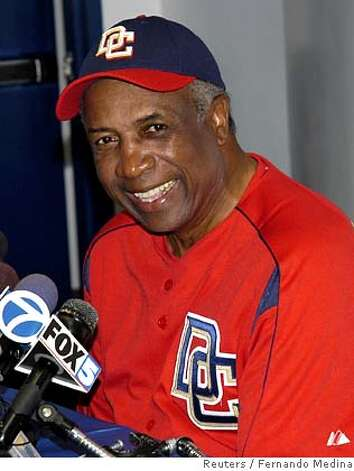 Washington Nationals' manager Frank Robinson answers questions from the media during a press conference at the Space Coast Stadium in Viera, Florida, February 17, 2005. The Nationals relocated from Montreal where they were known as the Expos. REUTERS/Fernando Medina Ran on: 02-27-2005 0 Photo: STRINGER/USA