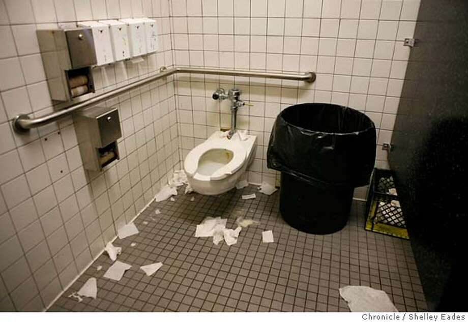 The bathrooms in Chinatown's Portsmouth Square Park have been on the radar of Mayor Gavin Newsom who demanded that a custodian be fired and ordered the city staff to come up with a plan to keep them clean after a visit there recently. (stall in women's bathroom) Shelley Eades/The Chronicle No sales/mandatory credit photog Mags out. Photo: Shelley Eades