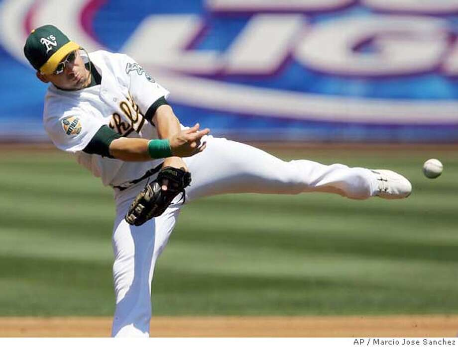 Oakland Athletics shortstop Marco Scutaro makes an off-balance throw to first base to try to throw out the Texas Rangers' Mark DeRosa in the second inning of a baseball game on Wednesday, Aug. 9, 2006 in Oakland, Calif. DeRosa was safe at first base for an infield single. (AP Photo/Marcio Jose Sanchez) Photo: MARCIO JOSE SANCHEZ