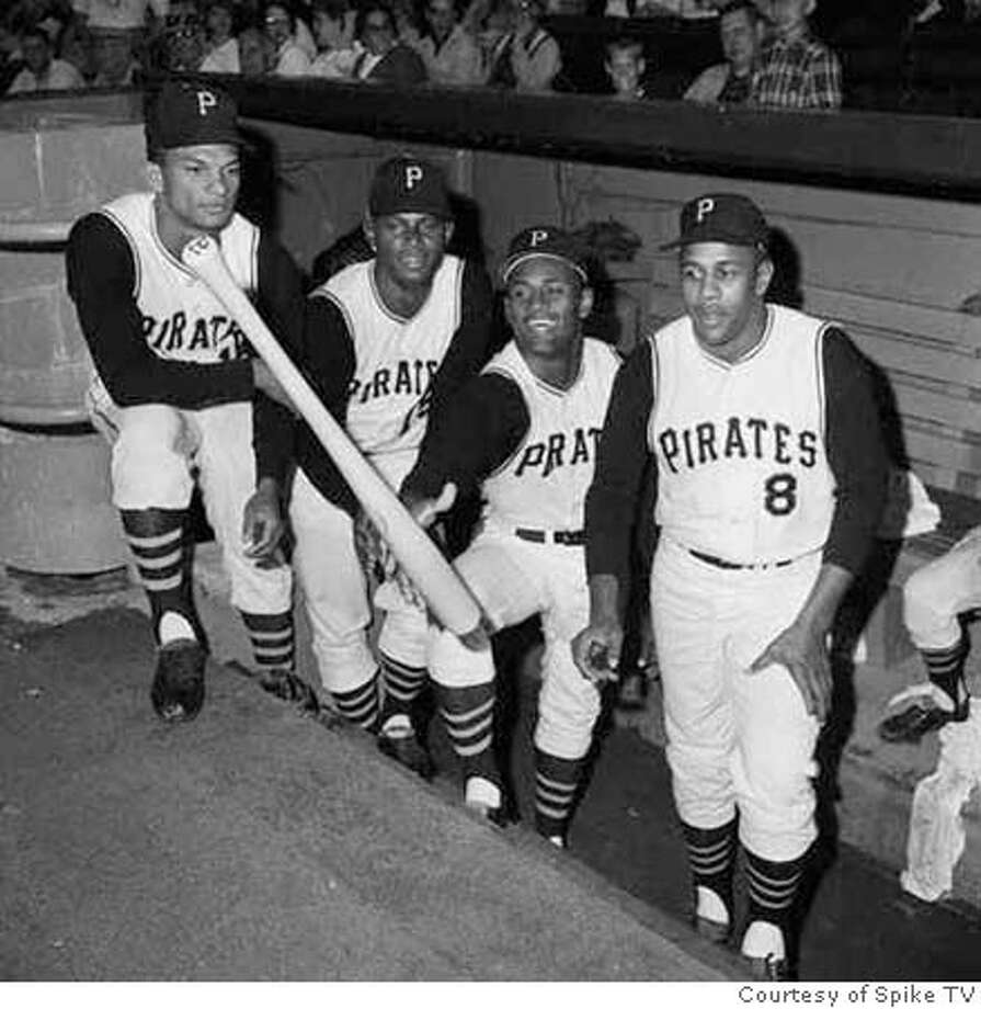 R. Clemente & 3 Pirates Posing In Dugout Photo: Courtesy Spike TV